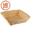 Basket square BASIC 24x24cm/height6cm PP/Plastic beige - 1pc.
