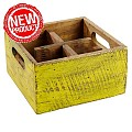 NEW! Table Caddy VINTAGE 17x17cm/H10cm Wood yellow - 1pc.