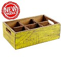 NEW! Table Caddy VINTAGE 27x17cm/H10cm Wood yellow - 1pc.
