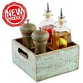 NEW! Table Caddy VINTAGE 17x17cm/height10cm Wood turqoise -