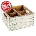 NEW! Table Caddy VINTAGE 17x17cm/height10cm Wood white - 1pc