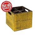 NEW! Table Caddy VINTAGE 17x17cm/height16cm Wood yellow - 1pc.