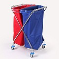Paper Trolley X-FORM 2x120ltr. 62x57cm/height100cm chrome plate