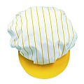 SCREEN CAP with elastic band PES/COTTON yellow/white - 1pc.