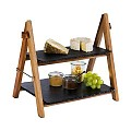 Serving Stand2-stufig 36,5x26,5cm/height34cm Slate/Wood - 1pc.