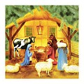 Napkins CHRISTMAS CRIB 33x33cm 1/4fold TISSUE 3-ply - 600pcs.