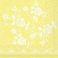 Napkins LACE 33x33cm 1/4fold TISSUE 3-ply yellow - 600pcs.