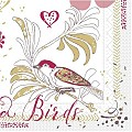 Napkins LOVE & BIRDS 40x40cm 1/4fold SOFTPOINT - 600pcs.