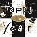 NEW YEAR Silvester Napkins 40x40cm AIRLAID black - 600pcs.