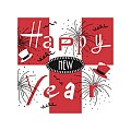 NEW YEAR Xmas Napkins 25x25cm TISSUE red/black - 1000pcs.
