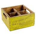 Table Caddy VINTAGE 17x17cm/H10cm Wood yellow - 1pc.
