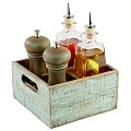 Table Caddy VINTAGE 17x17cm/height10cm Wood turqoise -