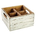 Table Caddy VINTAGE 17x17cm/height10cm Wood white - 1pc