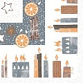 CANDLE TIME Table Cloths Christmas 80x80cm LINCLASS grey - 60pcs