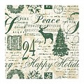 HAPPY HOLIDAY Napkins 33x33cm TISSUE beige/green - 800pcs.