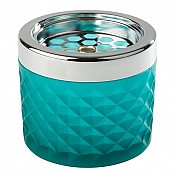 Ashtray Ø9,5cm/height8cm GLASS/METAL turquoise - 1pc. 1