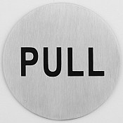 Sign plate Ø7,5cm Pull STAINLESS INOX - 1pc.