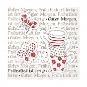 Napkins BREAKFAST 33x33cm 1/4fold TISSUE red - 600pcs. 1