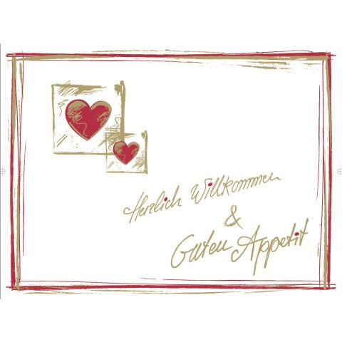 PlaceMats WILLKOMMEN 40x30cm Paper white/red - 500pcs.