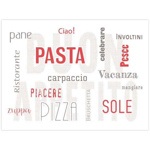 PlaceMats PASTA 40x30cm Paper white/red - 500pcs.