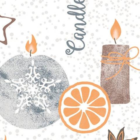 CANDLE TIME Napkins Christmas 40x40cm TISSUE grey - 1200pcs..
