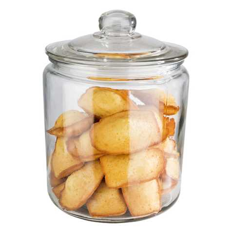Canister with Lid 4liter Ø18cm/height26cm Glass/Wood - 1pc.