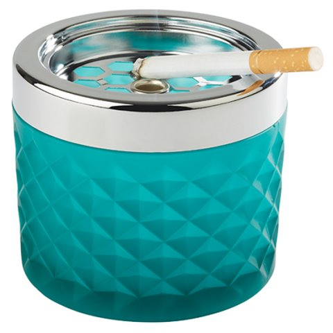 NEW! Ashtray Ø9,5cm/height8cm GLASS/METAL turquoise - 1pc.